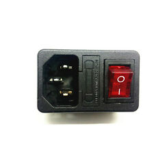 1 Red LED 4P Rocker Switch Holder Socket Inlet AC250V 10A IEC320 C14 With Fuse