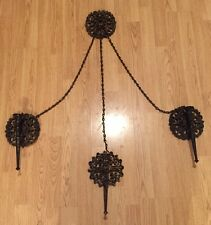 HOMCO Wall Sconce 3 Candle Holders Medieval Gothic Black Gold Vintage Chic