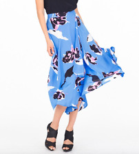 NEW YUMI KIM $176 Floral Printed Skirt Blue Silk Wrap Around Swingy Midi XS NWT