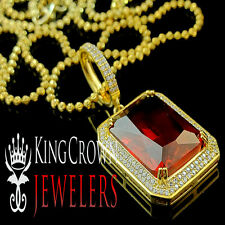 14K Yellow Gold Finish Silver Mens Celebrity Pendant Princess Cut Lab Ruby Charm