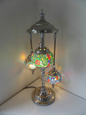 Turkish Floor Lamp, Hand Made 3 Glass and 'Silver' Moroccan Mosaic Glass Light