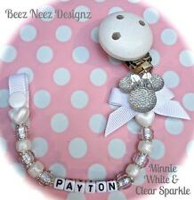 ❤ PERSONALISED - Any Name ❤ Dummy Clip ❤ MINNIE WHITE SPARKLE ❤ Christening ❤