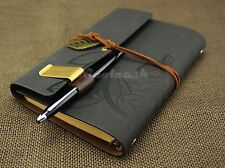 """7""""x5"""" Refillable Journals Leaves Leather Notebook Personalized Sketchbook Grey"""