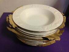 Set of 8 Libbey Soup Plate Bowls Embossed Fruit Holly Gold Trim Pattern LIE23
