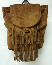 NWT Hollister Abercrombie Womens Girls Brown Faux Suede Fringe Backpack tote bag