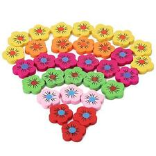 18pcs Cute Lovely Mixed Color Wooden Flower Beads 20mm