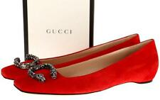NEW GUCCI RED SUEDE LEATHER DIONYSUS CRYSTAL BUCKLES BALLET FLATS SHOES 38.5