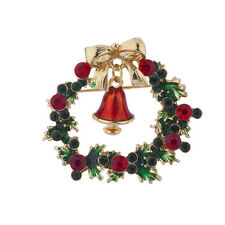 Lux Accessories Holiday Christmas Green Red Rhinestone Wreath Bell Brooch Pin