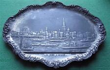 c1900 Art Nouveau Pewter Belgium Town La Rade Anvers Vide Poche Tray  - WMF ?