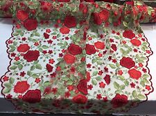 Red Flower Garden Design Embroider On A Mesh Lace -Yard