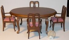 Dollhouse Miniature Dining Room Table & 4 Chairs Walnut 1:12  one inch scale D6
