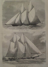 INTERNATIONAL YACHT RACE US SAPPHO & ENGLISH CAMBRIA HARPER'S WEEKLY 1870