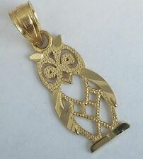 Solid Real 10k Yellow Gold good luck Owl Pendant Charm .75 inch long