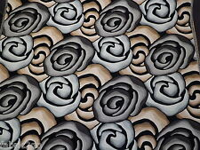 Abstract Rose Pattern Fire Retardant Chenille Fabric In Brown, Grey & Tan
