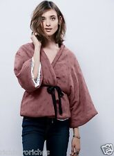 NEW Free People IFP mauve pink quilted Keep Me Kimono removal black belt L $148