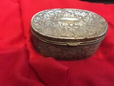 Viners Japan Oval engraved Decorated Silver Plated White Metal Trinket Box