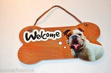 Little Gifts Laminated Wecome Door Sign BULLDOG Dog Lovers Bone Shape Wooden
