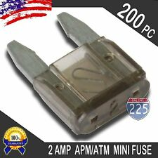 200 Pack of 2A Mini Blade Style Fuses APM/ATM 12V Short Circuit Protection RV US