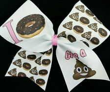 Cheer Bow - I Donut Give A Poop  Emoji  - Glitter - Hair Bows