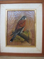 "Original Oil Painting Bird On Leaves, Signed By Narong W/ Wooden Frame, 10"" X 8"""