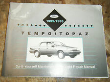 1992-93 FORD TEMPO MERCURY TOPAZ ORIGINAL FACTORY DO IT YOURSELF MANUAL SERVICE