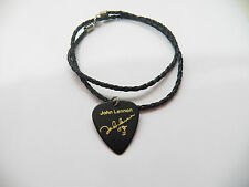 "JOHN LENNON Guitar Pick plectrum signature gold stamped 20"" leather NECKLACE"