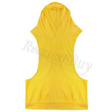 Muscle Mens Gym Stringer Bodybuilding Fitness Wear Tank Top Hooded Vest Wear