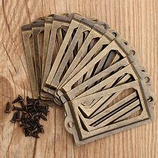 12PCS Antique Brass Drawer Label Pull Tag Cabinet Frame Handle Name Card Holder