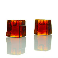 Lindshammar - Pair Orange Glass Votive Candleholders - Vintage 70s Swedish