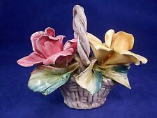 Beautiful Capodimonte Porcelain Two  Roses In A Basket - b3