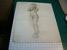 """vintage Drawing: early 1900's-NUDE YOUNG LADY no face- aprox 18 x 24"""""""