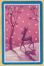 1 Single VINTAGE Swap/Playing Card ANIMALS FAWN DEER IN SNOW WITH SHADOW Blu/Pnk