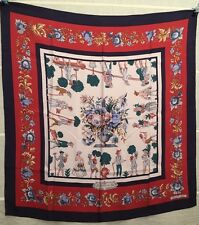 "HERMES ""LES JARDINIERS DU ROI""carre foulard scarf VINTAGE Maurice Trenchant 1967"