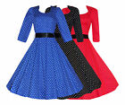 Ladies 40's 50's Retro Vintage Polka Dot 3/4 Sleeve Rockabilly Swing Dress New