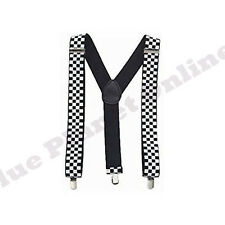 MENS LADIES ADJUSTABLE CLIP ON BRACES SUSPENDERS UNISEX FANCY DRESS MANY DESIGNS