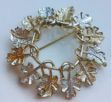 "VINTAGE 1968 SARAH COVENTRY ""GARLAND"" SILVER & GOLD-TONE LEAF BROOCH / PIN"