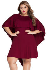 NEW Burgundy Red Cape Overlay Plus Size Ruffle Trim Flare Empire Dress 18 20 UK
