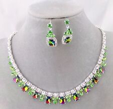 Silver Square Green Rhinestone Crystal Necklace Earring Set Fashion Jewelry NEW
