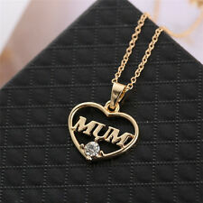 2015 Mum Heart Charm Pendent Necklace Crystal Gold Plated Jewelry Mother's Gift