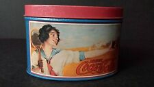 Vintage Reproduction Blue Coca Cola Advertising Tin Oval