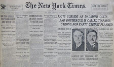 2-1934 February 8 PARIS RIOTS SUBSIDE AS DALADIER QUITS. DOUMERGUE LIKELY 81st