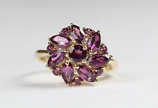 Round & Marquise Pink Amethyst Gemstone Floral Cluster Ring 10k Gold size 8