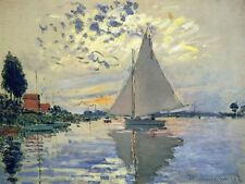 """Sailboat At Le Petit Gennevilliers by Monet, 8""""x10.5"""", Giclee Canvas Print"""