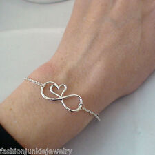 Infinity Bracelet - 925 Sterling Silver - Infinity Sign with Heart Bracelet NEW