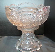 Imperial Fashion-Clear Rare Punch Bowl & Stand Hobstar Vintage Stunning