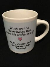 Three Things That Make Life Worth Living God Sisters Cookies Coffee Mug w/Box