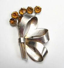 Vintage 1950s 60s Sterling Silver Yellow Topaz Rhinestone Bow Bouquet Pin Brooch