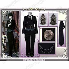 Anime Black Butler II Kuroshitsuji Sebastian Custom Made Uniform Cosplay Costume