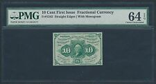 Fr1242 10¢ S.E. W/ Monogram 1St Issue Fractional Currency Pmg 64 Epq Br1203