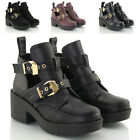 LADIES CUT OUT CHUNKY HEEL GOLD BUCKLE WOMENS BIKER CHELSEA ANKLE SHOE BOOTS 3-8